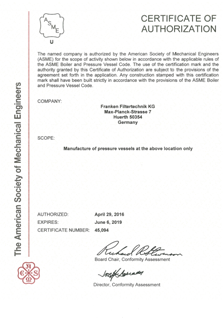 ASME Certification of Authorization