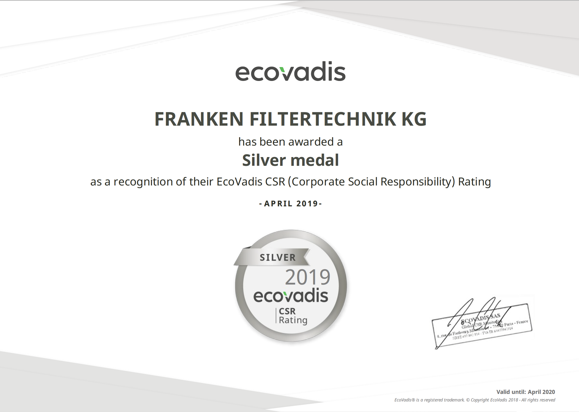 KG EcoVadis Rating Certificate